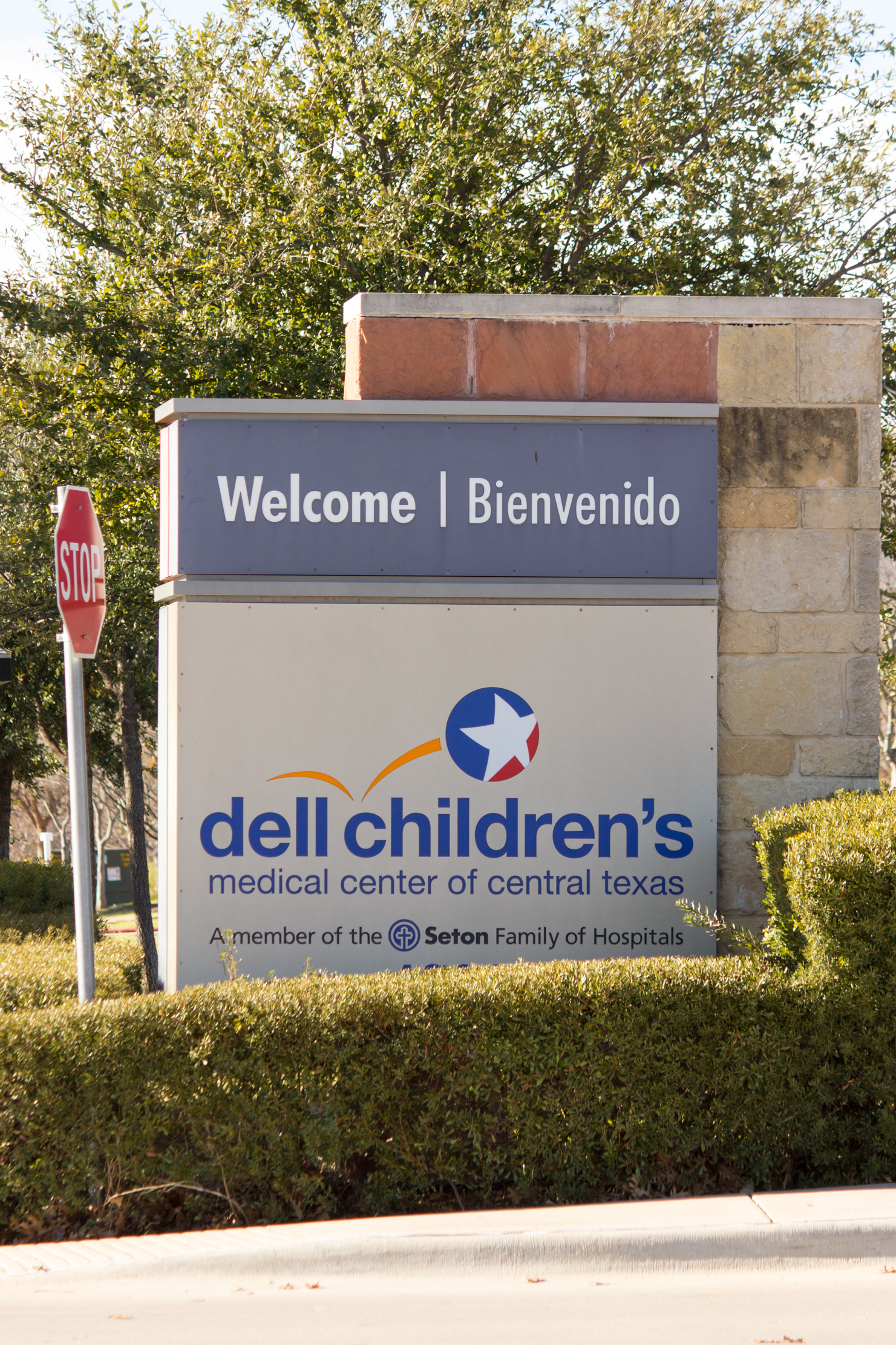 Welcome sign for Dell Childrens Medical Center in Austin, TX.