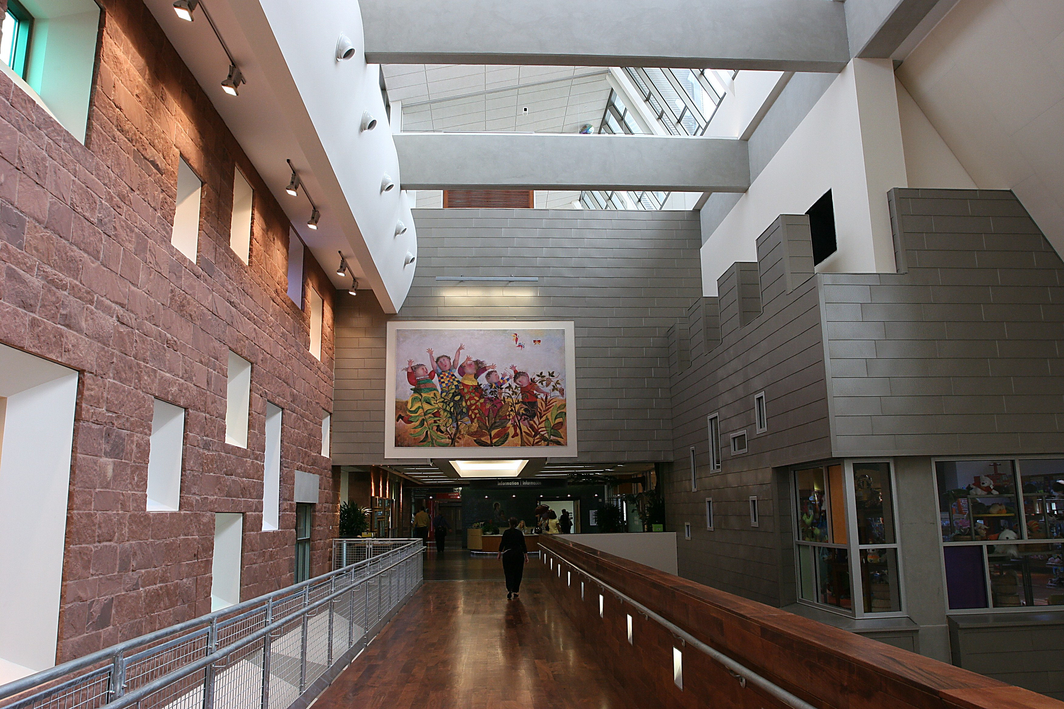 Inside the atrium area of Dell Childrens Medical Center.