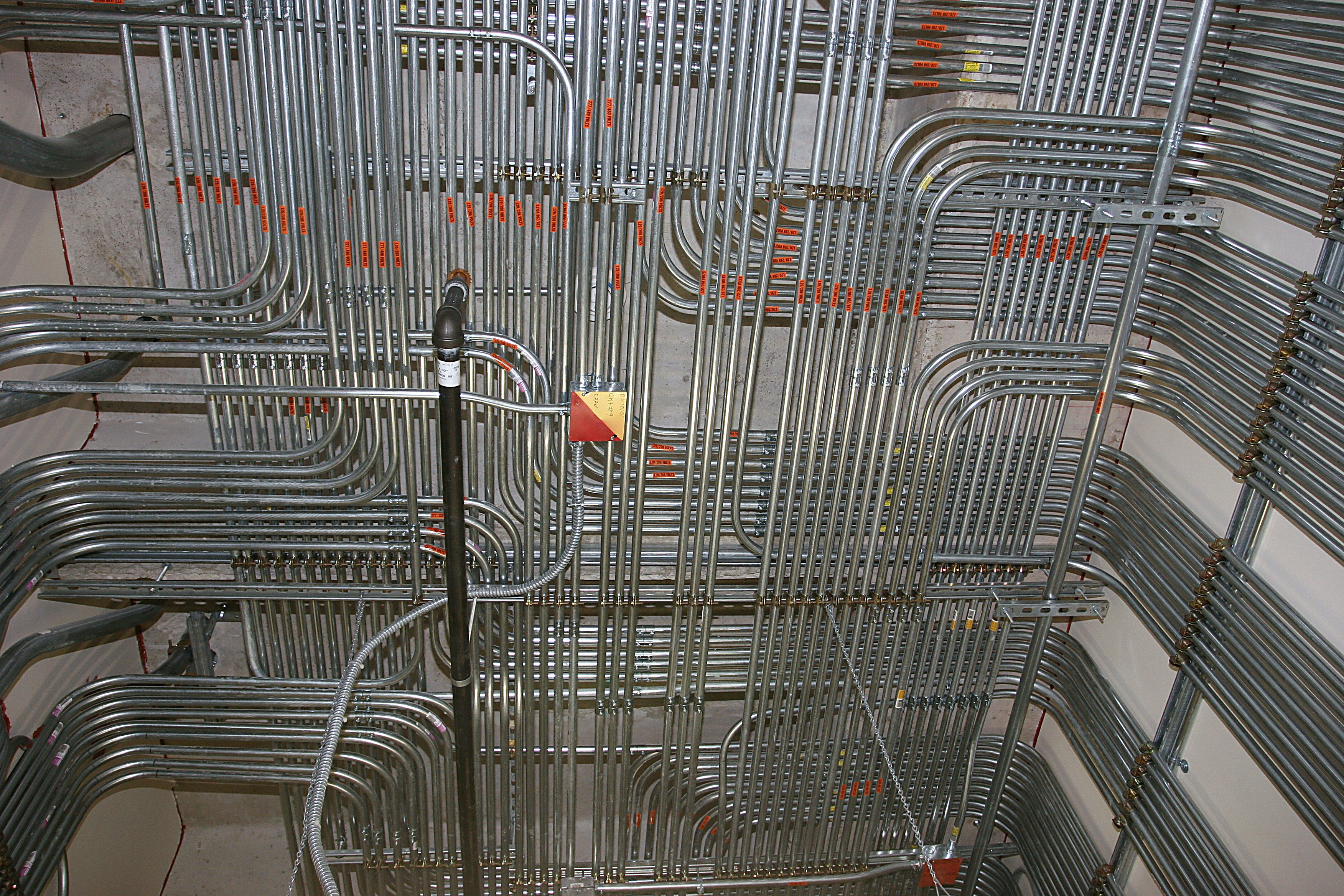 Pipes, wiring and electrical tubing in the Dell Childrens Medical Center in Austin, TX.